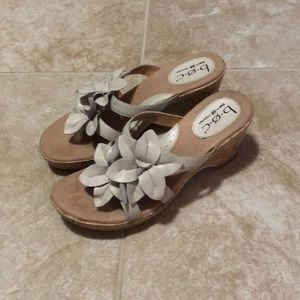 BOC tan wedge sandals with flower embellishment